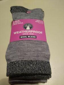 Weatherproof 3-Pair Women's Crew Socks Wool Blend Size 9-11 Shoe Sz 5- 9.5 Grey