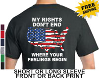 2nd Amendment Guns My Rights Don't End Where Your Feelings Begin Men's T Shirt