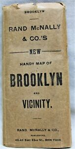 RAND MCNALLY BROOKLYN NEW YORK CITY STREET ROAD MAP 1900 VINTAGE