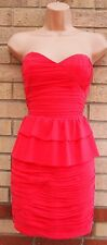 LIPSY PINK RUCHED BANDEAU CORSET PEPLUM TUBE BODYCON PENCIL PARTY DRESS 10 S