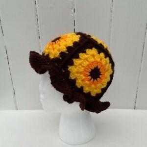 Bucket Flower Hat Festival Crochet Boho Retro Hippy Wooly Handmade Adult Teen