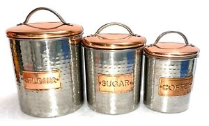 VTG Hammered Copper Stainless Set of 3 Lidded Canisters Flour Sugar Coffee-CUTE!
