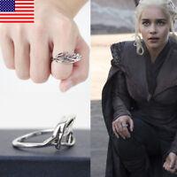 US! Game Of Thrones Targaryen Daenerys Ring Dragon Mother Christmas Jewerly Gift