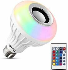 LED Wireless Bulb Speaker, RGB Smart Bulb, E26 w/Remote Control, Color Changing