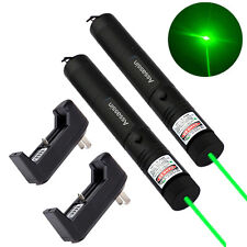 2PC 10Miles Military Assassin Green Laser Pointer Pen 5mw 532nm+Battery+Charger