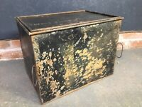 Vintage Metal Deed Box, Partitioned Trunk.