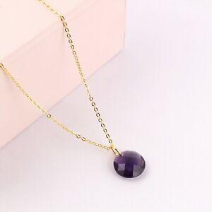 Purple Amethyst Quartz Yellow Gold Plated Bronze Pendant Chain Necklace