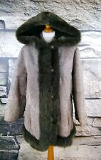 Damen Gr. 42 Boho Vintage Lammfell Jacke Kapuze Pelz Leder Fur Jacket #301