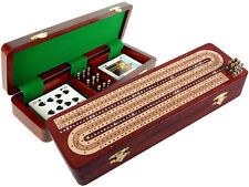 3 Track Cribbage Board Crystals Studded on Bloodwood Box