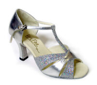 "16 Silver Salsa Ballroom Latin Satin LeatherDance Shoes 2.5"" / 3"" Very Fine"