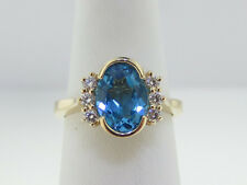 Estate Natural Blue Topaz Diamonds Solid 14k Yellow Gold Ring FREE Sizing