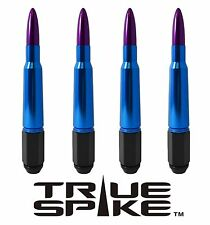 16 VMS RACING 7 INCH 12X1.5 LUG NUTS W/ BLUE PURPLE 50 CAL BULLET SPIKES D