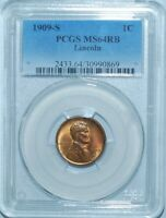 1909 S PCGS MS64RB Red and Brown Lincoln Wheat Cent