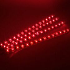 4pcs 15 SMD 12V LED 30cm Car Auto Flexible Grill Light Lamp Strip Waterproof RED