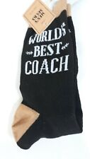 World's Best Coach Black & Tan Crew Socks   Size 10-13