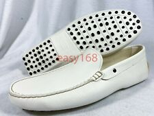 New TOD's Loafers Sz 9 Men's White Leather Made in Italy Shoes TODs TOD Casual