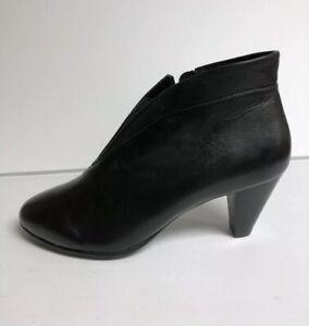 David Tate Womens Natalie Bootie Black Leather Size 10WW