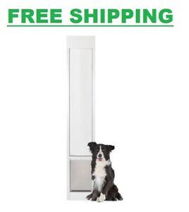 Patio Pet Door Large Sliding Glass Lockable Security Flap Aluminum Frame White