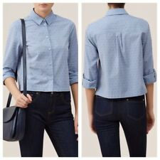 Hobbs Marion Dobby Shirt Blouse Size 10 Soft Blue Collared Button 🆕