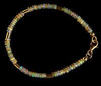 Opal Armband 925 Silber vergoldet Armkette Z218