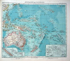 MAP ENGRAVING 1905 JUSTUS PERTHES Australia and Polynesia (general map)