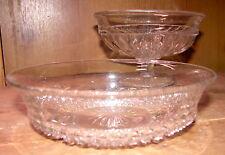 VINTAGE PR PRESSED HOBNAIL STYLE & FOOTED CLEAR GLASS DESSERT/SALAD BOWLS
