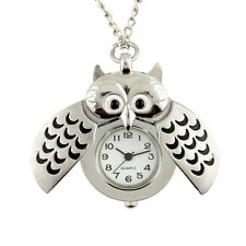 Silver Plated Owl Shape Pocket Watch Pendant Necklace Chain Women Watches Gift