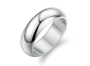 Shiny Polished Mens 7mm Stainless Steel Classic Wedding Band Thumb Ring Size O-Y