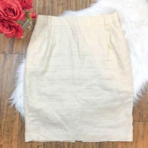Banana Republic Women's Ivory Linen A-Line Straight Skirt Size 14 Stretch