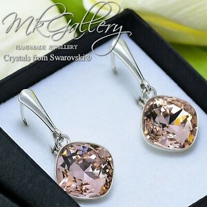 925 SILVER EARRINGS MADE WITH SWAROVSKI CRYSTALS FANCY STONE - VINTAGE ROSE