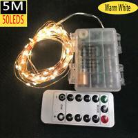 Micro Draht Lichterkette mit Fernbedienung und Timer - 5M 50 LED warmweiß BY