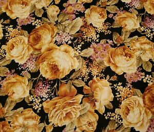 Petals From The Past BTY Hoffman International  Floral Black