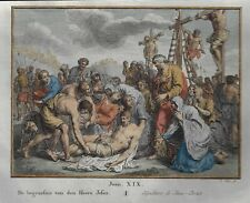 "Antique Religious Print ""BURIAL OF JESUS"" - Hand-Colored Engraving -c1780"