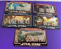 Lot of 5 Topps Star Wars License Plate Magnets 2011 Boba Fett Obi-Wan Darth Maul