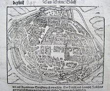 Strasbourg Straßburg Sebastian Münster Original-Holzschnitt Cosmographia 1578