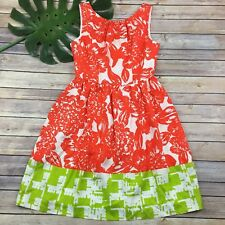 Trina Turk Silk Dress Size 6 NWT Orange Floral Sundress Green Trim Bright Fun