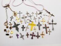 Vtg Christian Cross Pendant 43 Pc Lot Rosary Crucifix Costume + Sterling Silver