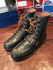 Polo Ralph Lauren Ranger Boots Navy Blue Smooth Leather Size 10 New