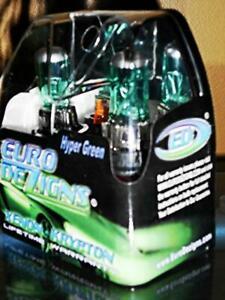 Green/White H3 Xenon HID Look Halogen Foglight Fog Light Replacement Bulbs