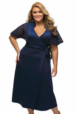 V-Neck Plus Size Dresses for Women with Kimono Sleeve