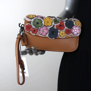 Coach 1941 Tea Rose Clutch Brown/Rainbow Leather Mini Wristlet Bag NEW