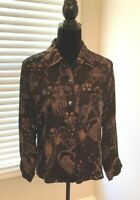 Chicos Black with Brown Floral Design Long Sleeve Blouse 100% Silk Size 1 (2100)