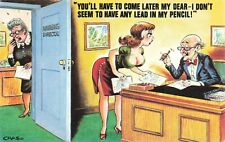 Bamforth Comic Postcard: Big Boobs & Secretary Theme