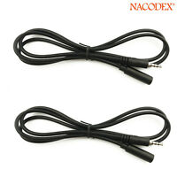 [2-Pack] 3.5mm 4Pole Male to Female M/F Plug Stereo Audio Headphone Cable Cord