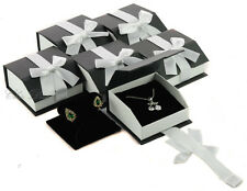 LOT OF (6) T-SHAPED EARRING / PENDANT BOX BLACK JEWELRY GIFT BOX MAGNETIC RIBBON