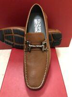 NIB Salvatore Ferragamo Parigi Radica Brown Pebbled Leather Loafers 10E