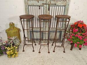 Vintage Round Rustic Metal Iron Folding Bistro Cafe Restaurant Garden Table