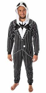 Nightmare Before Christmas Jack Skellington One-Piece Hood PJs Pajamas Small S