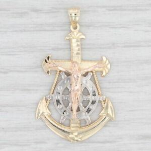 Crucifix Cross Anchor Ships Wheel Pendant 14k Gold Religious Nautical Tri-Toned