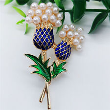New Fashion Beauty Hot Women Gold Craft Glaze Pineapple tree Pearl Brooch Pin